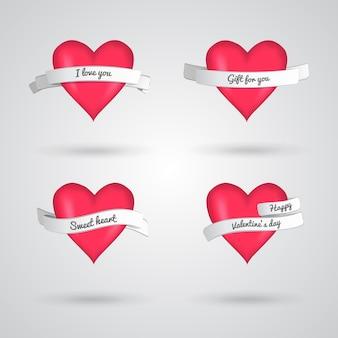 Ilustração em vetor corações vermelhos e fitas isoladas