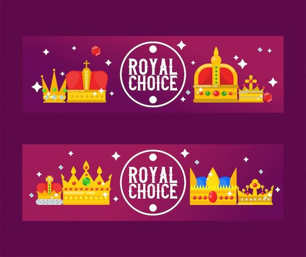 Ilustração em vetor coroas reais douradas. banners de design real de luxo.