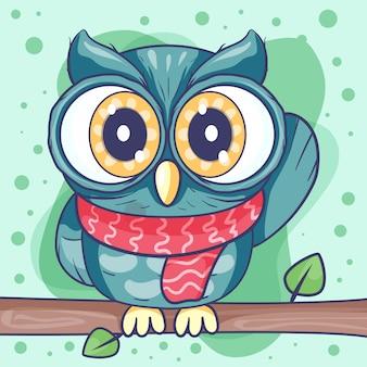 Ilustração em vetor coruja bonito dos desenhos animados