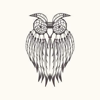 Ilustração em vetor coruja dreamcatcher