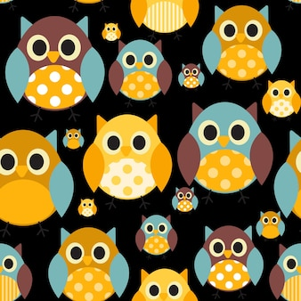 Ilustração em vetor coruja padrão sem emenda