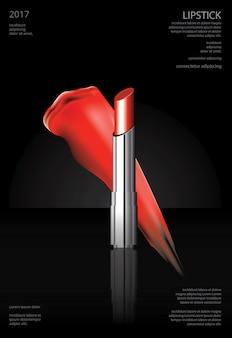 Ilustração em vetor cosmético batom poster