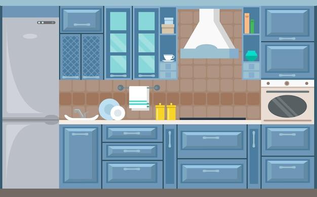 Ilustração em vetor cozinha cartão interior plana