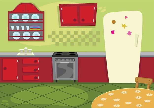 Ilustração em vetor cozinha desenho animado