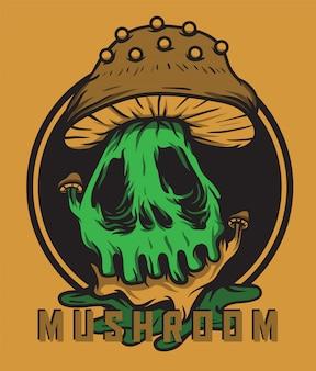 Ilustração em vetor crânio cabeça cogumelo monstro