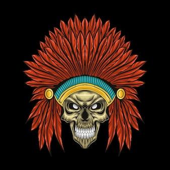 Ilustração em vetor crânio chefe índio americano