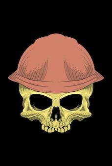 Ilustração em vetor crânio com chapéu de segurança