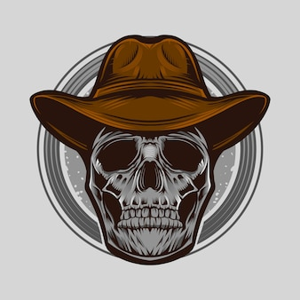 Ilustração em vetor crânio cowboy isolada