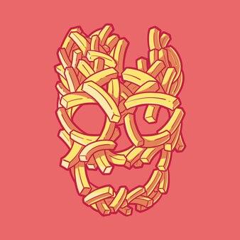 Ilustração em vetor crânio de batata frita fofa fast food conceito de design engraçado de terror de fast food