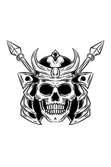 Ilustração em vetor crânio e lança de samurai