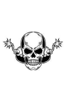 Ilustração em vetor crânio explosivo