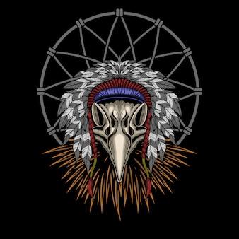 Ilustração em vetor crânio indiano águia