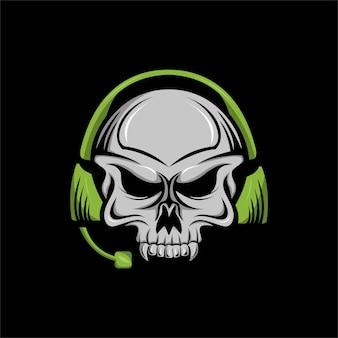 Ilustração em vetor crânio mascote de fone de ouvido