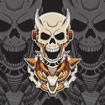 Ilustração em vetor crânio mecha