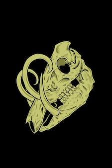 Ilustração em vetor crânio porco-veado