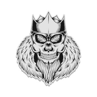 Ilustração em vetor crânio rei adesivo