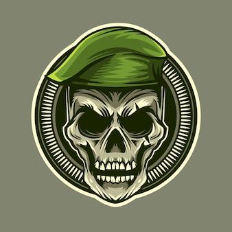 Ilustração em vetor crânio soldado cabeça emblema