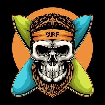 Ilustração em vetor crânio surf board