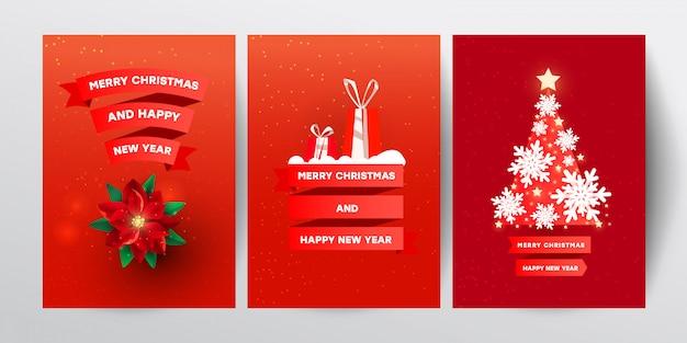 Ilustração em vetor criativo conjunto com decoração de natal vermelha, flocos de neve