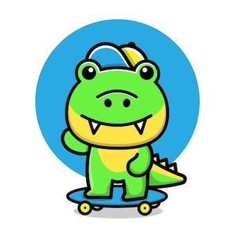 Ilustração em vetor crocodilo fofo brincar de skate
