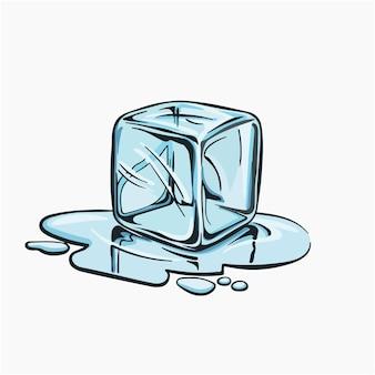 Ilustração em vetor cubo de gelo - desenho animado clipart