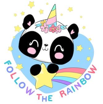 Ilustração em vetor cute panda unicórnio desenhada à mão e arco-íris, estampa infantil de verão