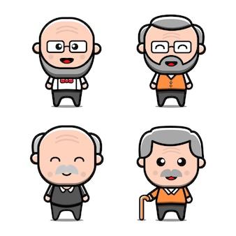 Ilustração em vetor cute set grandfather character