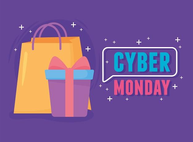 Ilustração em vetor cyber segunda-feira, sacola de compras e caixa de presente