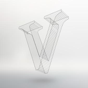 Ilustração em vetor da letra l em fundo branco. fontes de malha poligonal. alfabetos de contorno de quadro de arame.