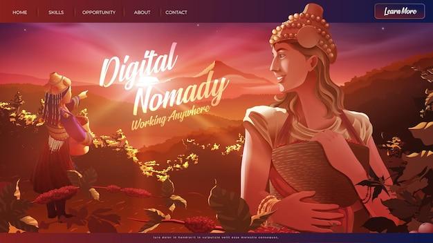 Ilustração em vetor da nômade digital ocidental ajudando uma senhora da tribo