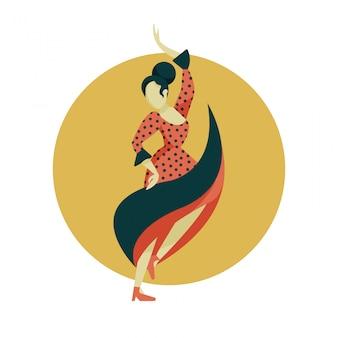 Ilustração em vetor dançarina de flamenco