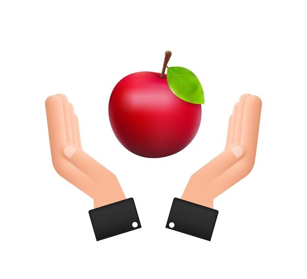 Ilustração em vetor das ações da maçã vermelha brilhante grande detalhada pairando sobre as mãos.