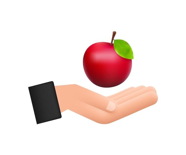 Ilustração em vetor das ações da maçã vermelha brilhante grande detalhada que paira sobre a mão.