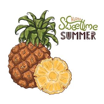Ilustração em vetor de abacaxi. lettering: aloha tempo doce de verão.