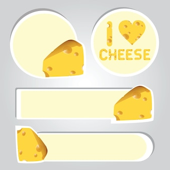 Ilustração em vetor de adesivos de queijo de desenho animado