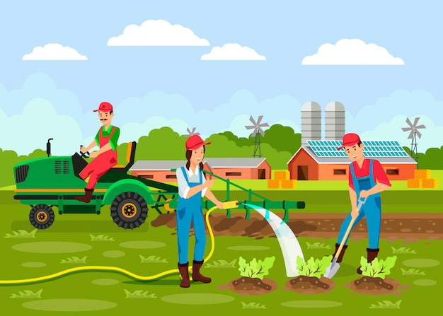 Ilustração em vetor de agronomia dos desenhos animados
