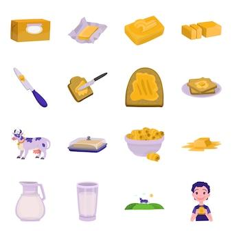 Ilustração em vetor de alimentos e laticínios logo. conjunto de alimentos e colesterol