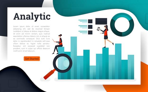 Ilustração em vetor de análise de dados e pesquisa de informações de negócios