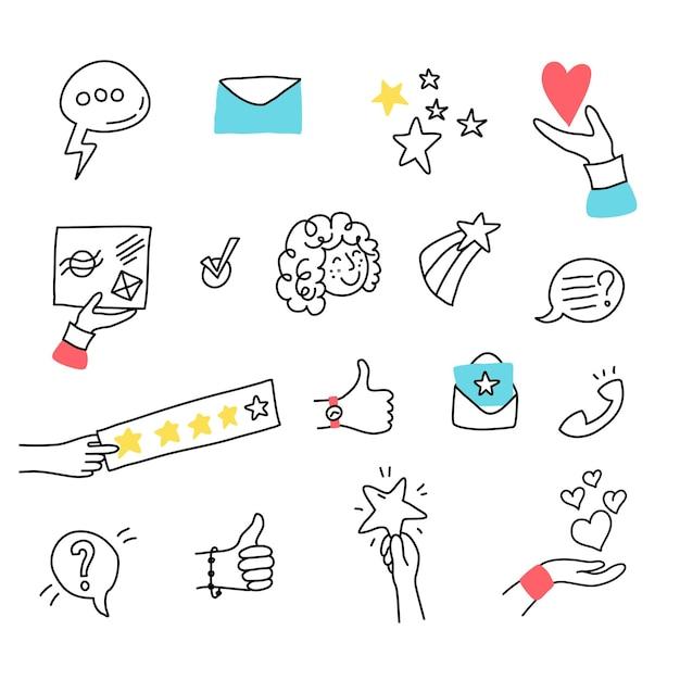 Ilustração em vetor de análise online e experiência do cliente. rostos de pessoas, feedback e classificação