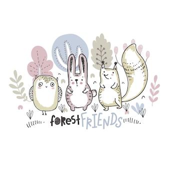 Ilustração em vetor de animais bonitos desenhados à mão com flores, plantas, cogumelos