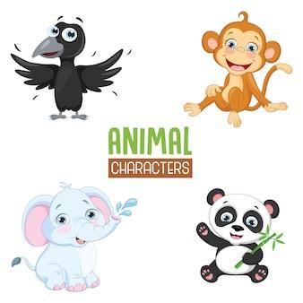 Ilustração em vetor de animais dos desenhos animados