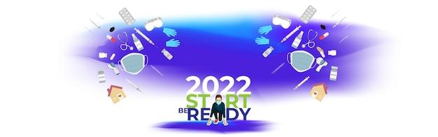 Ilustração em vetor de ano novo de 2022 com novo conceito de estilo de vida normal