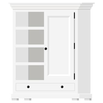 Ilustração em vetor de armário doméstico vazio de estilo provençal de madeira branco com prateleiras e ícone de porta isolado no fundo branco