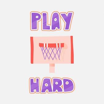 Ilustração em vetor de aro de basquete, isolado no branco. basquete aro vector plana ícone com letras sobre jogar duro.