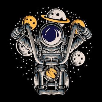 Ilustração em vetor de astronauta andando de moto