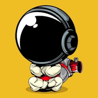 Ilustração em vetor de astronauta com grande spray pode na parte traseira