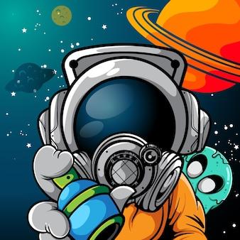 Ilustração em vetor de astronauta com pintura em spray e pequeno monstro na parte traseira
