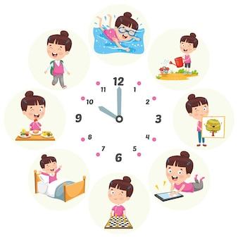 Ilustração em vetor de atividades de rotina diária de crianças