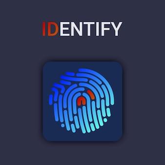 Ilustração em vetor de autenticação de impressão digital de segurança. identidade do dedo. ilustração biométrica de tecnologia.