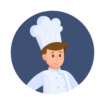 Ilustração em vetor de avatar do chef. trabalhando em um restaurante. chef principal. avatar para redes sociais. novato, trabalho, restaurante. sabores diferem. a comida dos deuses.
